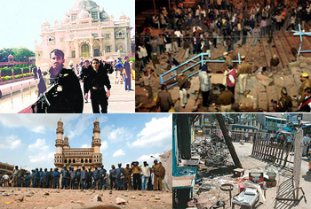 From Left:The Akshardham temple after attack, Varanasi blast site, Mecca Masjid, The Malegaon blasts. Photo courtesy: From various new websites