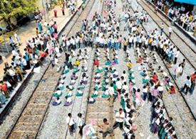'Rail roko' agitation at Uppal railway station in Karimnagar district . Photo courtesy: The Hindu
