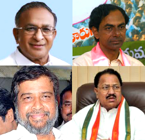 From Left: Jaipal Reddy, K Chandrasekara Rao, Damodar Raja Narasimha,  D Srinivas