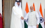 Hyderabad: The Emir of the State of Qatar, His Highness Sheikh Tamim Bin Hamad Al-Thani during a meeting with Prime Minister Narendra Modi at the Hyderabad House in New Delhi, on March 25, 2015. (Photo: IANS)
